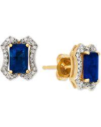 Macy's - Sapphire (1-3/8 Ct. T.w.) & Diamond (1/6 Ct. T.w.) Stud Earrings In 14k Gold - Lyst