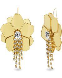 Catherine Malandrino - White Rhinestone Flower Design Yellow Gold-tone Hook Earrings - Lyst