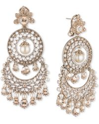Marchesa - Gold-tone Crystal & Imitation Pearl Tiered Chandelier Earrings - Lyst