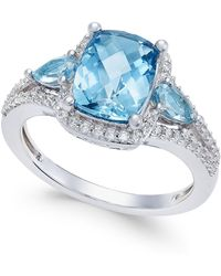 Macy's - London Blue Topaz (2-5/8 Ct. T.w.) And White Topaz (1/4 Ct. T.w.) Ring In Sterling Silver - Lyst