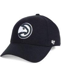 34cba084505 Lyst - 47 Brand Atlanta Hawks Ledgebrook Snapback Cap in Black for Men