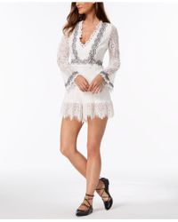Foxiedox - Bell-sleeve Embroidered Lace Romper - Lyst