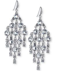 Carolee - Silver-tone Crystal Chandelier Earrings - Lyst