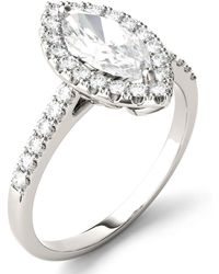 Charles & Colvard - Moissanite Marquise Halo Ring (1-3/8 Ct. Tw.) In 14k White Gold - Lyst