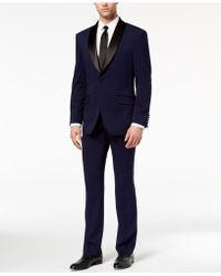 Perry Ellis - Slim-fit Stretch Navy Shawl-collar Tuxedo - Lyst