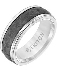 Triton 8mm White Tungsten Carbide Ring With Meteorite