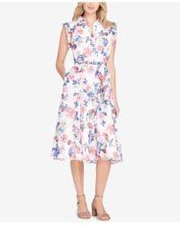 Tahari - Belted Floral-print Shirtdress - Lyst