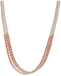 "Lonna & Lilly - Gold-tone & Colored Bead Triple-row 24"" Slider Necklace - Lyst"
