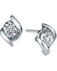 Sirena - Diamond Twist Stud Earrings (1/4 Ct. T.w.) In 14k White Gold - Lyst