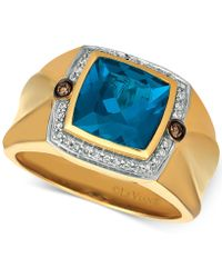 Le Vian - Men's London Blue Topaz (4-1/8 Ct. T.w.) & Diamond (1/5 Ct. T.w.) Ring In 14k Gold - Lyst
