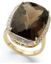 Macy's | 14k Gold Ring, Smokey Topaz (20 Ct. T.w.) And Diamond (1/5 Ct. T.w.) Large Rectangle Cushion Cut Ring | Lyst