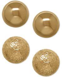 Macy's - Ball Stud Earring Set In 10k Gold - Lyst