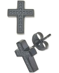 Macy's - Diamond Cross Earrings (1/10 Ct. T.w.) In Black Ion-plated Stainless Steel - Lyst