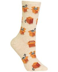Hot Sox Cats In Boxes Fashion Crew Socks