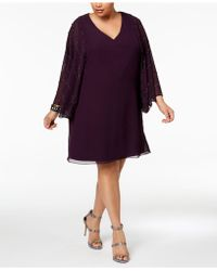 Betsy & Adam - Plus Size Embellished-sleeve Shift Dress - Lyst