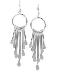 Touch Of Silver | Circle Fringe Drop Earrings In Silver-plated Metal | Lyst