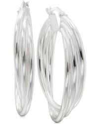 Macy's - Triple Band Hoop Earrings In Sterling Silver - Lyst