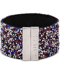Guess - Sterling Silver Multicolor Stone Cuff Bracelet - Lyst