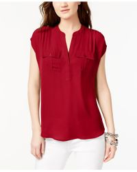 INC International Concepts - Dolman-sleeve Mixed-media Utility Shirt - Lyst