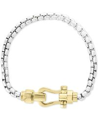 Effy Collection - Horseshoe Clasp Box Link Bracelet In Sterling Silver & 18k Gold Plate - Lyst