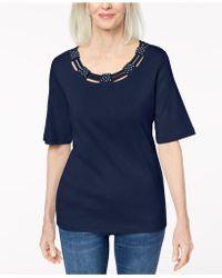 Karen Scott - Cotton Embellished T-shirt, Created For Macy's - Lyst