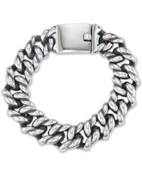Macy's - Large Link Chain Bracelet In Stainless Steel And Black Ion-plated Stainless Steel - Lyst