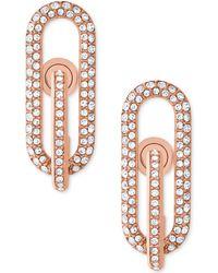 Michael Kors | Rose Gold-tone Pavé Loop Post Earrings | Lyst