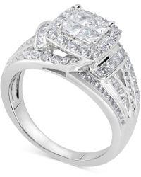 Macy's - Diamond Princess Overlap Engagement Ring (1-1/2 Ct. T.w.) In 14k White Gold - Lyst