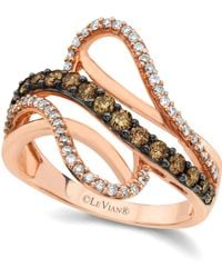 Le Vian - Chocolate And White Diamond Wave Ring (5/8 Ct. T.w.) In 14k Rose Gold - Lyst