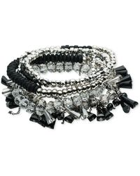 ABS By Allen Schwartz - Silver-tone Multi-bead Multi-row Stretch Bracelet - Lyst