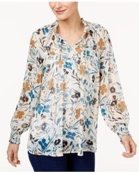 Style & Co. - Petite Printed Smocked Top - Lyst