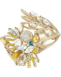 Betsey Johnson - Gold-tone Stone & Imitation Pearl Cockatoo Hinged Bracelet - Lyst