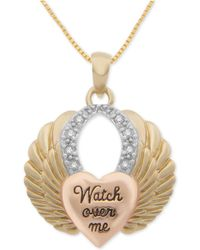 """Macy's - Diamond Tricolor Heart & Wing 18"""" Pendant Necklace (1/10 Ct. T.w.) Sterling Silver And 18k Gold- And Rose Gold-plate - Lyst"""