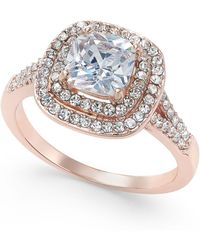 Charter Club - Rose Gold-tone Stone And Crystal Double Halo Statement Ring - Lyst