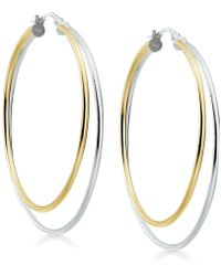 Giani Bernini - Two-tone Double Hoop Earrings In Sterling Silver & 18k Gold-plate, Created For Macy's - Lyst