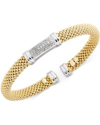 Macy's - Diamond Accent Mesh Bangle Bracelet In 14k Gold-plated Sterling Silver - Lyst
