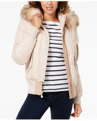 Vince Camuto - Faux-fur-trim Hooded Bomber Coat - Lyst