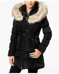 9211569df036 Mackage Kay Mid Length Winter Down Coat With Fur Collar In Bordeaux in Blue  - Lyst