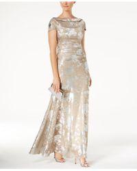 Tahari - Cowl-neck Metallic Cap-sleeve Gown - Lyst