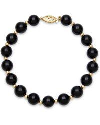 Macy's - Faceted Onyx Bead Bracelet (3mm) In 10k Gold - Lyst