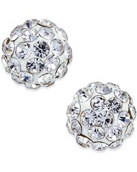 Macy's - Crystal Stud Earrings In 10k Gold - Lyst