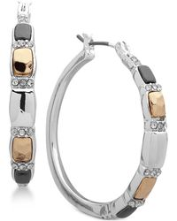 "Nine West - Tri-tone Crystal 1-1/4"" Hoop Earrings - Lyst"