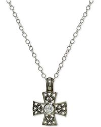 Giani Bernini - Cubic Zirconia Filigree Cross Pendant Necklace In Sterling Silver - Lyst