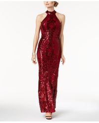 Betsy & Adam - Sequined Stretch Halter Gown - Lyst
