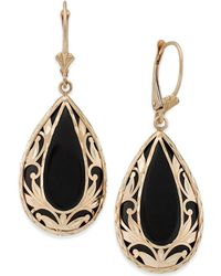 Macy's - Onyx Teardrop Decorative Framed Drop Earrings In 14k Gold - Lyst
