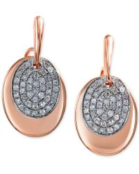 Effy Collection - Effy Diamond Oval Disc Earrings (1/4 Ct. T.w.) In 14k Rose Gold - Lyst