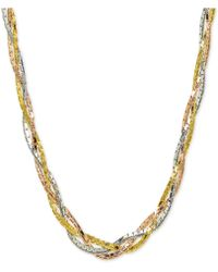 """Giani Bernini - Tricolor Braided 18"""" Collar Necklace In Sterling Silver, 18k Gold-plate & 18k Rose Gold-plate, Created For Macy's - Lyst"""