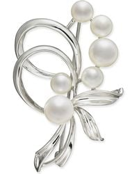 Macy's - Cultured Freshwater Pearl (7mm & 5mm) Pin In Sterling Silver - Lyst