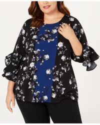 Alfani - Plus Size Printed Ruffle-sleeve Top, Created For Macy's - Lyst