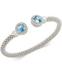 Macy's - Blue Topaz (4-1/2 Ct. T.w.) & Diamond (1/3 Ct. T.w.) Mesh Cuff Bracelet In Sterling Silver - Lyst